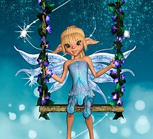 Happy Birthday cute fairy on flower swing by Moonlake