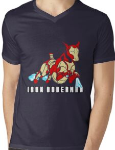 Iron Doberman Mens V-Neck T-Shirt