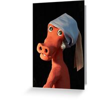 (Dinosaur) Girl with a Pearl Earring Greeting Card