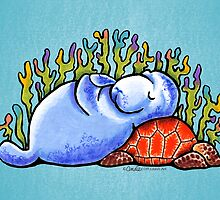 Sea Turtle and Manatee by offleashart