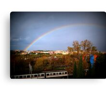Rainbow on the railway Canvas Print