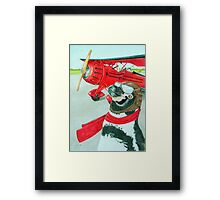 Penguin with a Plane Framed Print