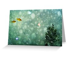 Two fish, a crow, and a black cat all meet in an underwater world made of blue bubbles Greeting Card
