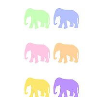 Pastel Elephants by Whiteland