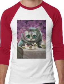 Alice in Wonderland Cheshire Cat Multi-Layer Stencil Vector Men's Baseball ¾ T-Shirt