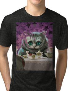 Alice in Wonderland Cheshire Cat Multi-Layer Stencil Vector Tri-blend T-Shirt