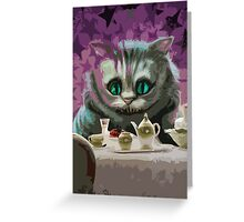 Alice in Wonderland Cheshire Cat Multi-Layer Stencil Vector Greeting Card