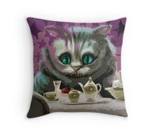 Alice in Wonderland Cheshire Cat Multi-Layer Stencil Vector Throw Pillow