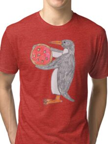 Penguin with Pizza Tri-blend T-Shirt