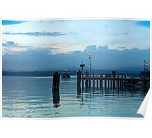 Lake Garda Pier and the Last Ferry for the day Poster