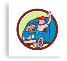 Delivery Man Waving Driving Van Circle Cartoon Canvas Print