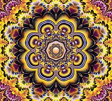 Fantasy Sunflowers and Petals, fractal Kaleidoscope art by walstraasart
