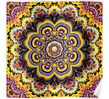 Fantasy Sunflowers and Petals, fractal Kaleidoscope art Poster