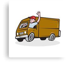 Delivery Man Waving Driving Van Cartoon Canvas Print