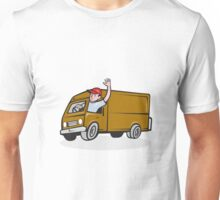 Delivery Man Waving Driving Van Cartoon Unisex T-Shirt