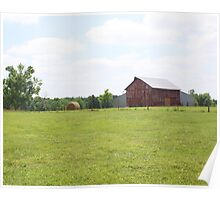 OLD BARN WITH BALE OF HAY Poster