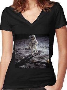 Man on the moon Women's Fitted V-Neck T-Shirt
