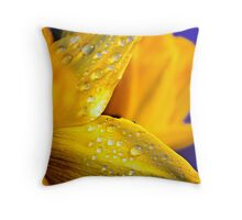 Water droplets on Irish Daffodils Throw Pillow