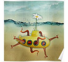 yellow submarine in an octapuses garden Poster