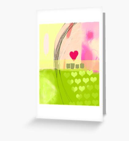 Corner of pink heart Greeting Card