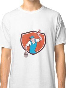House Painter Paintbrush Paint Bucket Crest Cartoon Classic T-Shirt