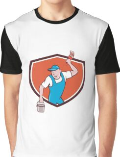 House Painter Paintbrush Paint Bucket Crest Cartoon Graphic T-Shirt