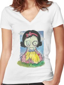 Zombie Snow White Women's Fitted V-Neck T-Shirt