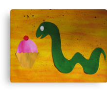 Snake with a Cake Canvas Print