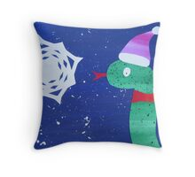 Snake with a Snow Flake Throw Pillow