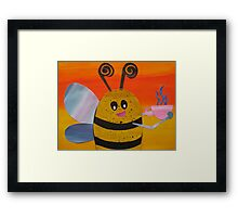 Bee Drinking Tea- Rhymes made from recycled math books Framed Print