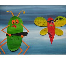 Bug thugs- Animal Rhymes - created from recycled math books Photographic Print