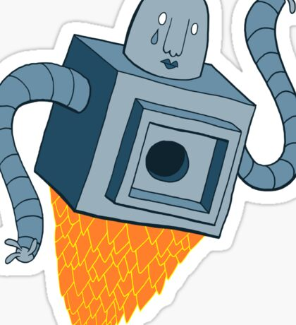 sad robot sails into the void Sticker