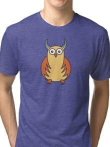 Funny Cartoon Horned Owl Tri-blend T-Shirt