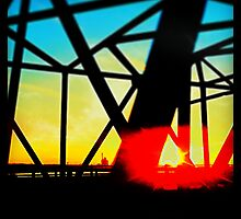 Midwest Bridge Frame Sunset by Nicholas Storey