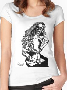 B&W Fashion Illustration - White Shirt Women's Fitted Scoop T-Shirt