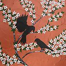Asian blossom with birds and Copper Bronze Orange by cathyjacobs