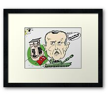 Turkish PM Erdogan Editorial Carictaure Framed Print