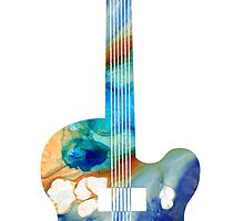 Vintage Guitar - Colorful Abstract Musical Instrument by Sharon Cummings