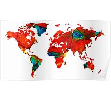 World Map 12 - Colorful Red Map by Sharon Cummings Poster