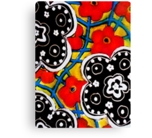 Beautiful Floral Primary Colored Print Canvas Print