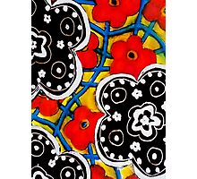 Beautiful Floral Primary Colored Print Photographic Print