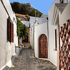 Residental Street in Lindos by Tom Gomez
