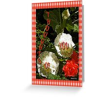 Hollyhocks and Roses Greeting Card