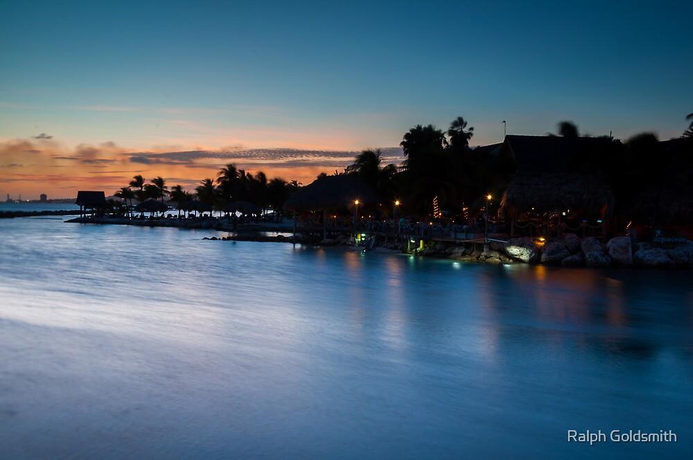 Beach bar after sunset by Ralph Goldsmith