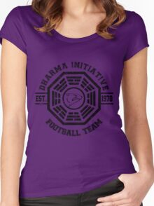 Dharma Initiative Football Team (Black Ver.) Women's Fitted Scoop T-Shirt