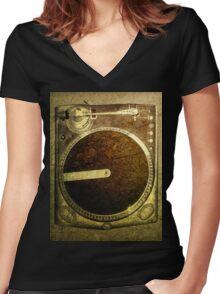 Grunge Dj Turntable Art Women's Fitted V-Neck T-Shirt
