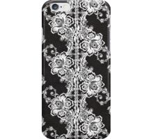 White Lace on Black Textured Leather iPhone Case/Skin