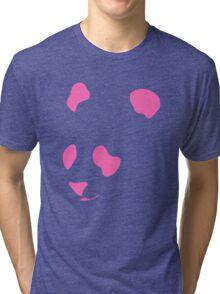 Pink Neon Panda Stencil Tri-blend T-Shirt