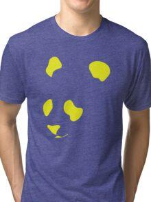 Yellow Neon Panda Stencil Tri-blend T-Shirt