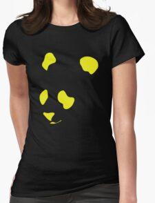 Yellow Neon Panda Stencil Womens Fitted T-Shirt